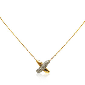"14K White and Yellow Gold Diamond Fancy X Pendant with 17"" Cable Chain"