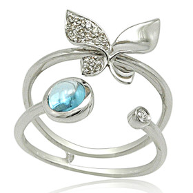 14K White Gold Diamond and Blue Topaz Butterfly Ring