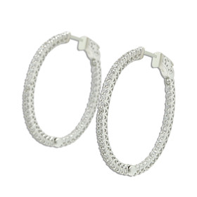 Sterling Silver CZ Oval Hoop Earrings with Safety Clasp