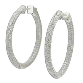 Sterling Silver CZ Oval Hoop Earrings with Safety Clasp 84010559