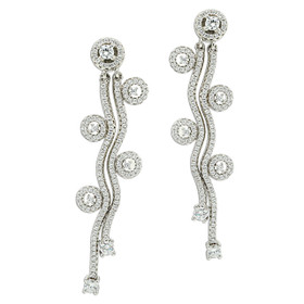 Sterling Silver CZ Post Drop Earrings 84010558