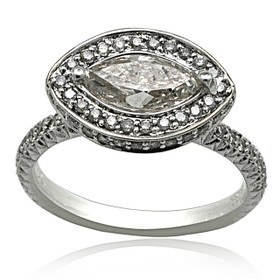 18K White Gold Diamond Engagement Ring 11005931