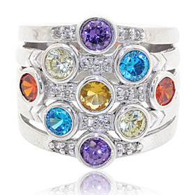 Sterling Silver Bezel Setting Multicolor Cubic Zirconia Ring