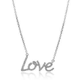"14K White Gold  Diamond Love 17"" Necklace"