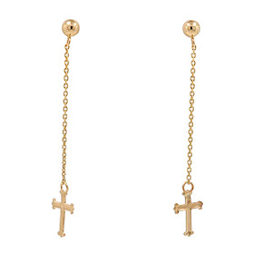 14K Yellow Gold Cross With Cross Hanging Earrings
