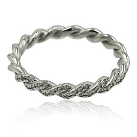 18K White Gold Diamond Twisted Eternity Band