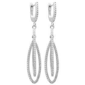 Rhodium Plated Sterling Silver CZ Drop Lever Back Earrings 84210248