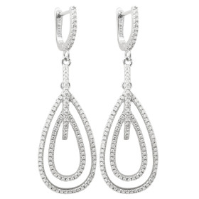 Sterling Silver Rhodium Plated  CZ Drop Lever Back Earrings 84210246