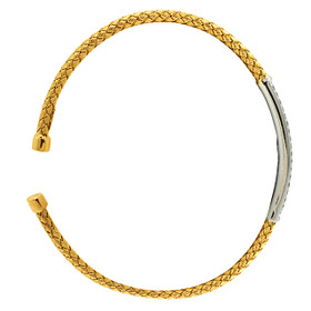 14K White and Yellow Gold Diamond Bangle