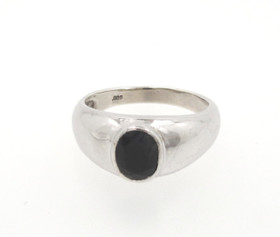Sterling Silver Blue Sapphire Mens Ring