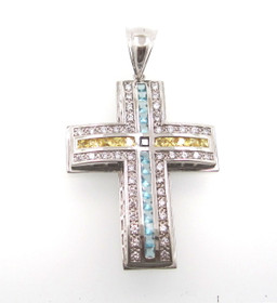 Sterling Silver Cross Blue/Yellow/White Cubic Zirconia Charm