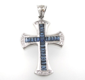 Sterling Silver Cross Blue and White Cubic Zirconia Charm