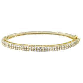 Gold Plated Sterling Silver, Two Row CZ Bangle