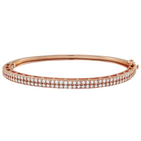 Rose Gold Plated Sterling Silver, Two Row CZ Bangle