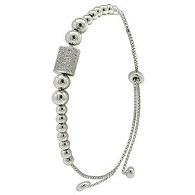 Sterling Silver Cubic Zirconia with Beads Bracelet