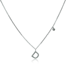 14K White Gold Diamond D Initial Charm Necklace