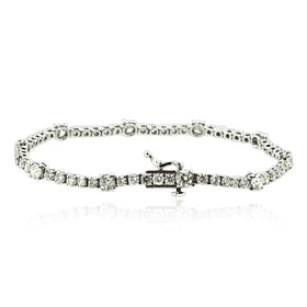 14K White Gold  6 Carat Diamond Tennis Bracelet 21000642