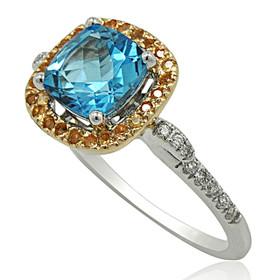 14K White Gold Blue Topaz and Diamond Ring 12002687