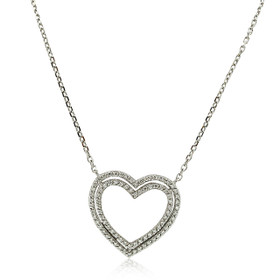 14K White Gold Diamond Double Heart Charm Necklace