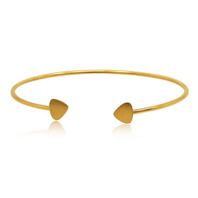 "14K Yellow Gold 7"" Cuff Bracelet With Hearts 20001551"