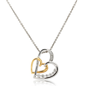 10K Two Toned  Gold Diamond Two Heart Necklace 59000220