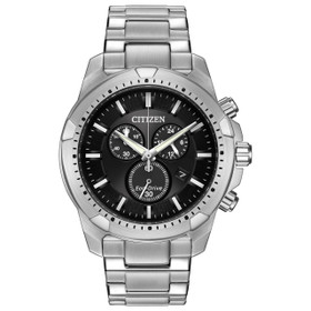 Citizen Eco Drive AT2260-53E Men's Stainless Steel Black Chronograph Dial Watch