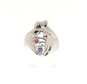 14K White Gold Mother and Child Gem Stone Ring