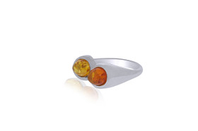 Sterling Silver Amber Together  Ring 81210136