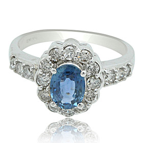 14K White Gold 1.25 carat Sapphire and 0.72 carat Diamond Ring
