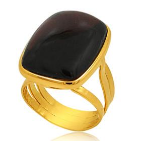 18K Yellow Gold Cabachon Garnet Ring