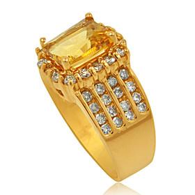 14K Yellow Gold 2.5-Carat Citrine Diamond Ring