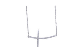 Sterling Silver Cz Cross Necklace 83010796