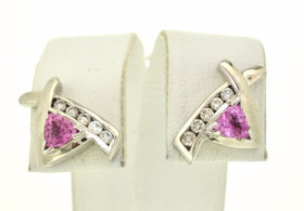 "14K White Gold Diamond/Pink Sapphire ""X"" Pattern Stud Earrings"