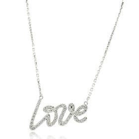 14K White Gold 0.57 Carat Diamond Love Necklace