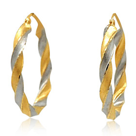14K Yellow and White Gold Twisted Hoop Earrings