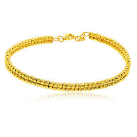 14K Yellow Gold Double Strand Diamond-cut Beads Bangle 20001470