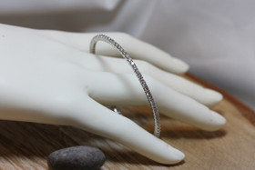 14K White Gold Diamond Tennis Bangle 23000175