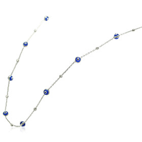 14K White Gold Blue Evil Eye Necklace 32000521
