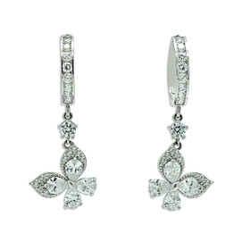 14K White Gold  Cubic Zirconia Dangle Butterfly Huggie Earrings