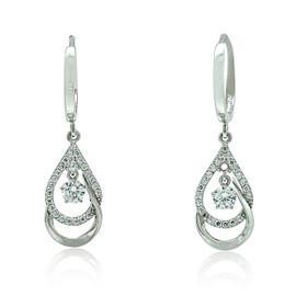 14K White Gold Cubic Zirconia Drop Dangle Huggie Earrings