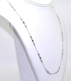 "14K White Gold Black And White Diamond 16"" Chain Necklace 31000372"