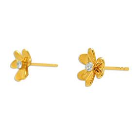 14K Yellow Gold Diamond Clover Earrings