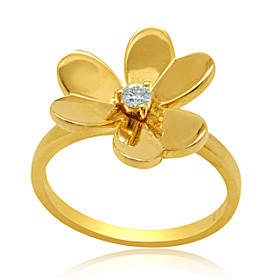 14K Yellow Gold Diamond Clover Ring