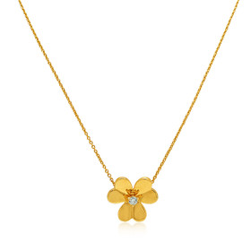 14K Yellow Gold Diamond Clover Adjustable Necklace
