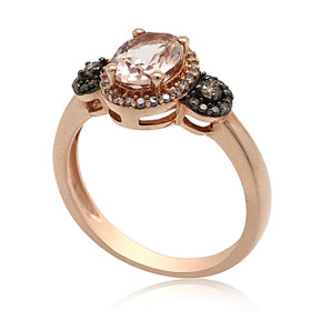 14K Rose Gold Morganite  Diamond Ring 12002704