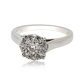 14K White Gold  Engagement  Ring With Illusion Setting