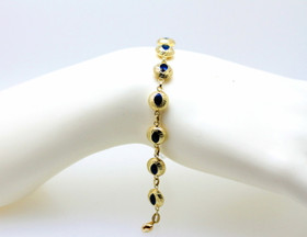 "14K Yellow Gold Diamond Cut Blue Evil Eye 7.5"" Bracelet  20001598"