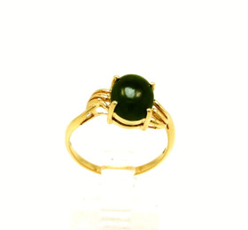10K Yellow Gold Oval Jade Ring  19000228