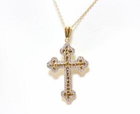 "14K Yellow Gold CZ Cross Pendant with 16"" Cable Chain 32000532"