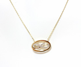 "14K Yellow Gold CZ Infinity 16.5"" Necklace"